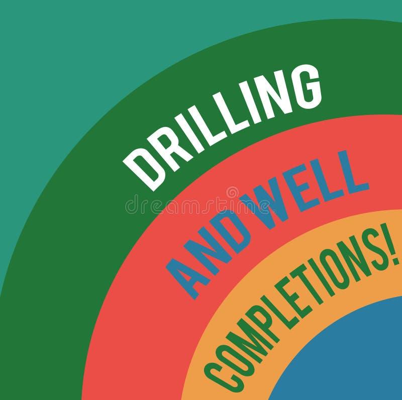 Wort, das Text Bohrung und wohle Fertigstellungen schreibt Geschäftskonzept für Öl- und Gasmineralölindustrietechnik überlagerte vektor abbildung