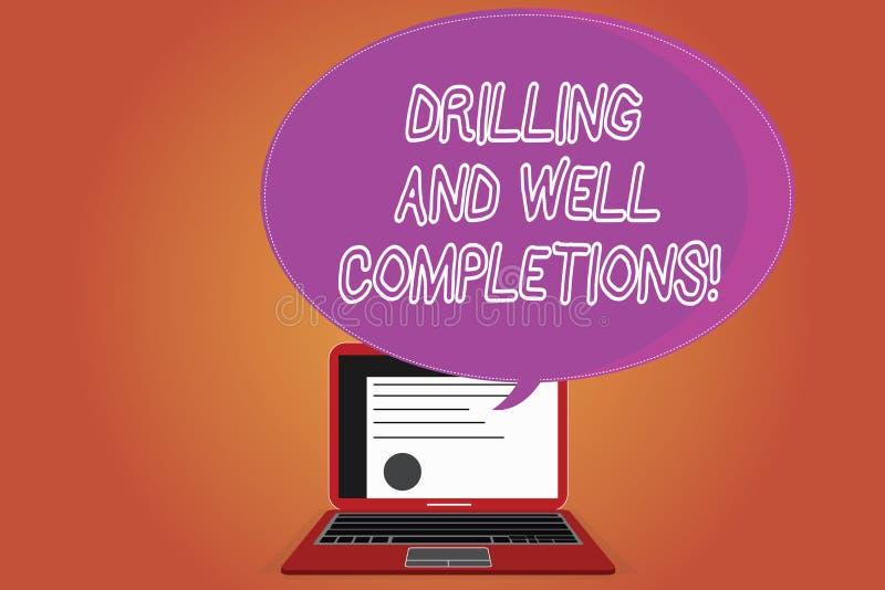 Wort, das Text Bohrung und wohle Fertigstellungen schreibt Geschäftskonzept für Öl- und Gasmineralölindustrietechnik stock abbildung