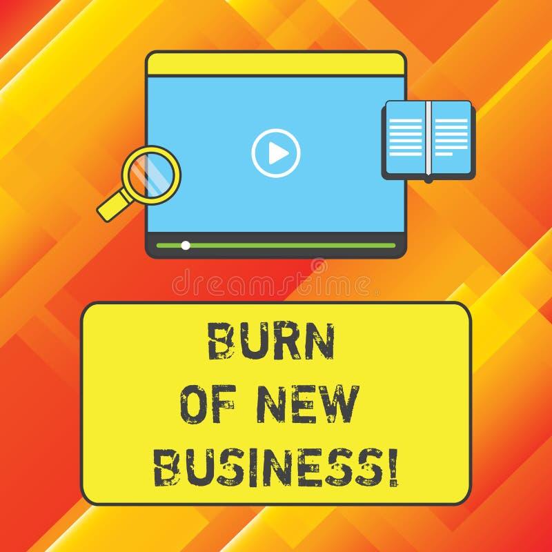 Wort, das Text Brand des neuen Geschäfts schreibt Geschäftskonzept für Menge Monatsbargeld die Firma gibt Tablet aus stock abbildung