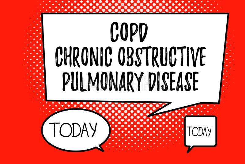 Wort, das Text Copd-chronisch obstruktive Lungenerkrankung schreibt Geschäftskonzept für Lungenerkrankung Schwierigkeit zum Atem lizenzfreie abbildung