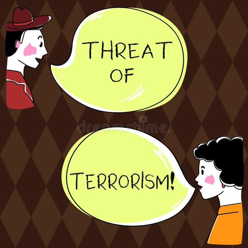 Wort, das Text Drohung von Terrorismus schreibt Geschäftskonzept für ungesetzliche Gebrauchsgewalttätigkeit und Einschüchterung g stock abbildung