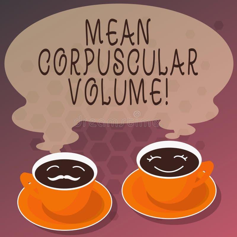 Wort, das Text Durchschnitt korpuskulares Volumen schreibt Geschäftskonzept für durchschnittliches Volumen ein rote Blutteilchen- lizenzfreie abbildung