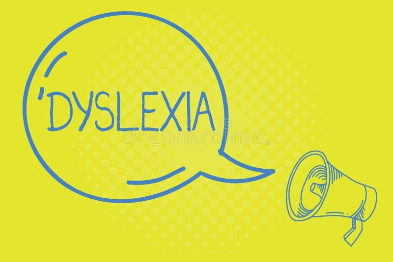Wort, das Text Dyslexie schreibt Geschäftskonzept für Störungen, die Schwierigkeit beim Lernen zu lesen und zu verbessern miteinb stock abbildung