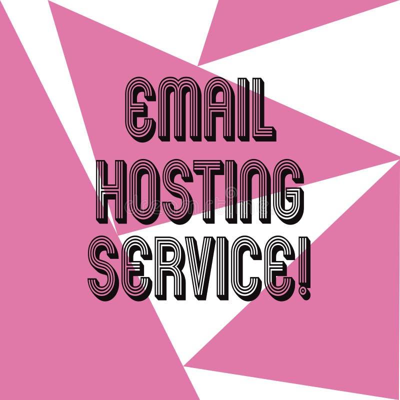 Wort, das Text E-Mail-Bewirtungs-Service schreibt Geschäftskonzept für Internet-Bewirtungsservice, der E-Mail-Server drei betreib stock abbildung