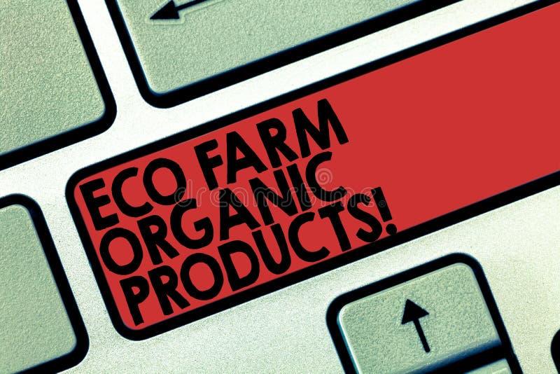 Wort, das Text Eco-Bauernhof-Bioprodukte schreibt Geschäftskonzept für natürliche gesunde Nahrungsmittelfrischgemüse und -früchte vektor abbildung