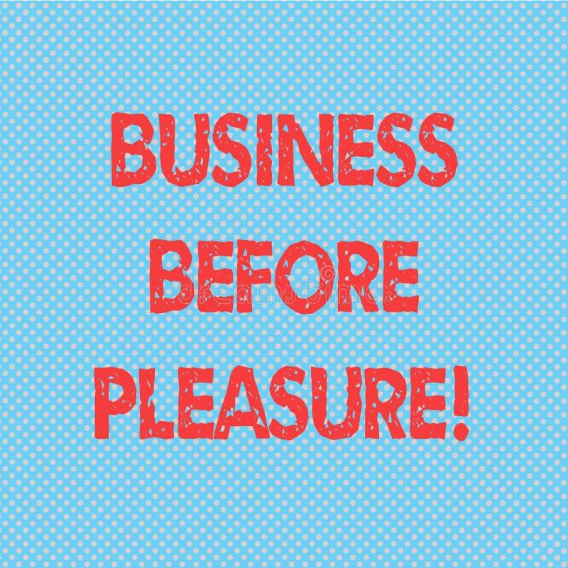 Wort, das Text Geschäft vor Vergnügen schreibt Geschäftskonzept für Arbeit ist wichtiger als Unterhaltung nahtlose Tupfen vektor abbildung