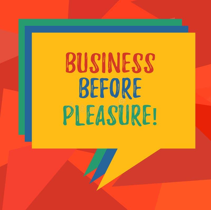 Wort, das Text Geschäft vor Vergnügen schreibt Geschäftskonzept für Arbeit ist wichtiger als Unterhaltung Stapel der Sprache-Blas lizenzfreie abbildung