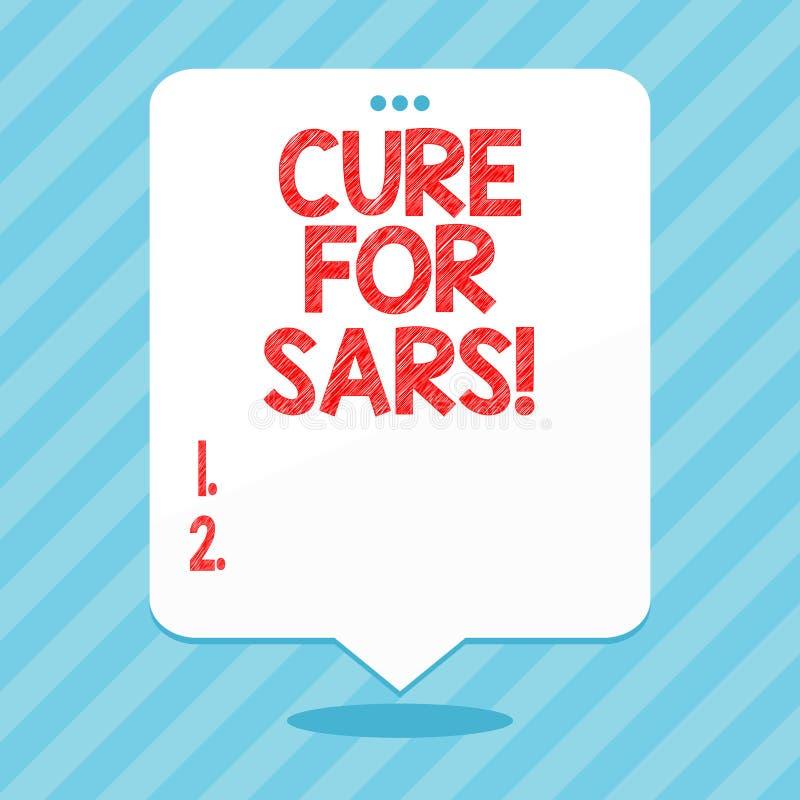 Wort, das Text Heilung für Sars schreibt Geschäftskonzept für ärztliche Behandlung über schwerem akutem respiratorischem Syndrom lizenzfreie abbildung