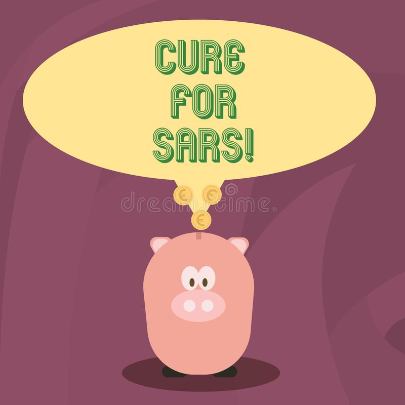 Wort, das Text Heilung für Sars schreibt Geschäftskonzept für ärztliche Behandlung über schwerem akutem respiratorischem Syndrom stock abbildung