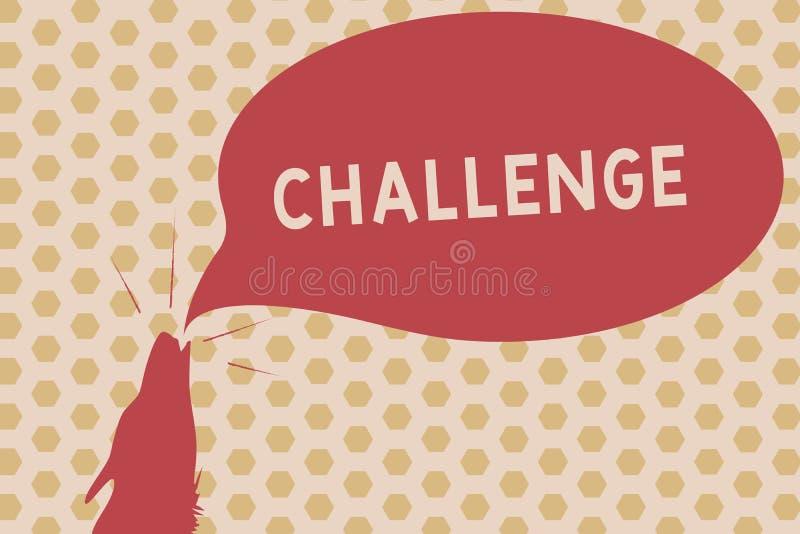 Wort, das Text Herausforderung schreibt Geschäftskonzept für Anruf zu jemand, zum an der wettbewerbsfähigen Situation Schlag-Kont lizenzfreie abbildung