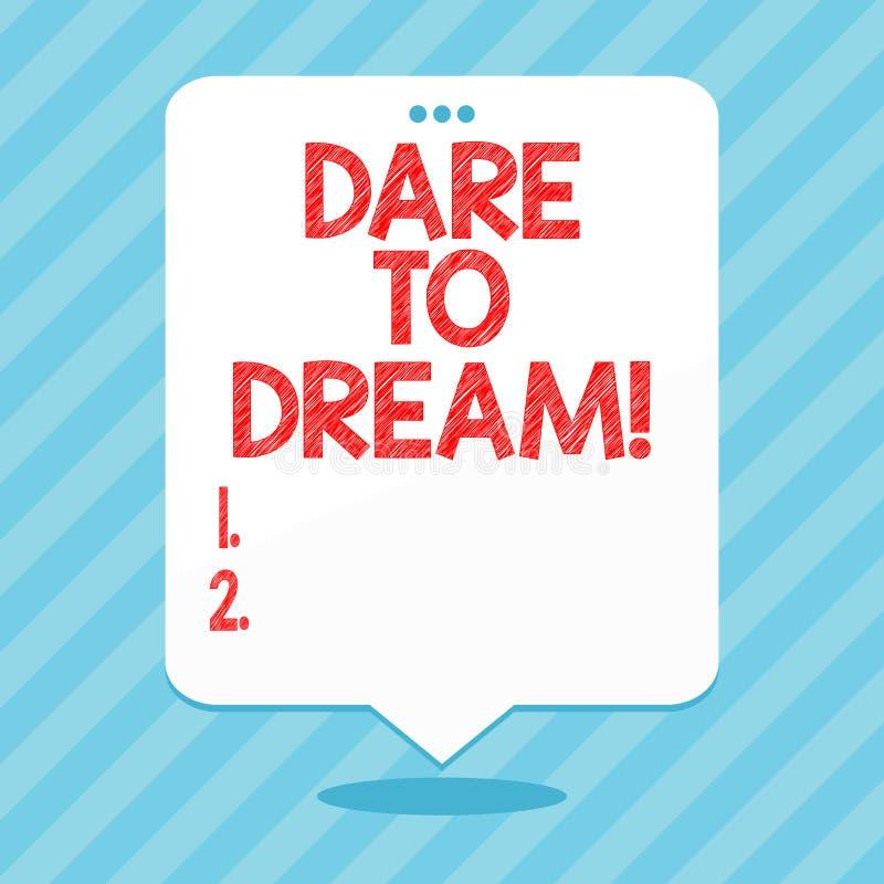 Wort, das Text Herausforderung schreibt, um zu träumen Geschäftskonzept denn haben nicht vor haben große Ehrgeizzielziele Angst stock abbildung