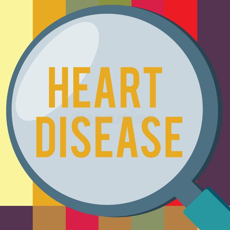 Wort, das Text Herz-Krankheit schreibt Geschäftskonzept für Herzenkrankheits-Zustände, die blockierte Blutgefäße miteinbeziehen stock abbildung