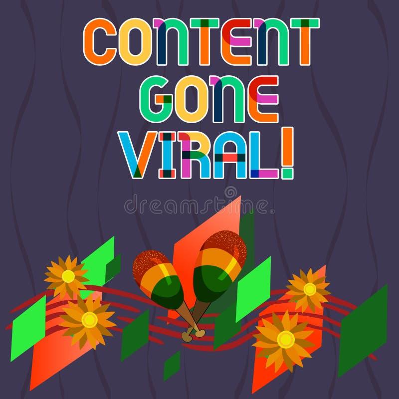 Wort, das Text Inhalt Viren gegangen schreibt Geschäftskonzept für Bildvideoverbindung, die schnell durch Bevölkerung verbreitet vektor abbildung