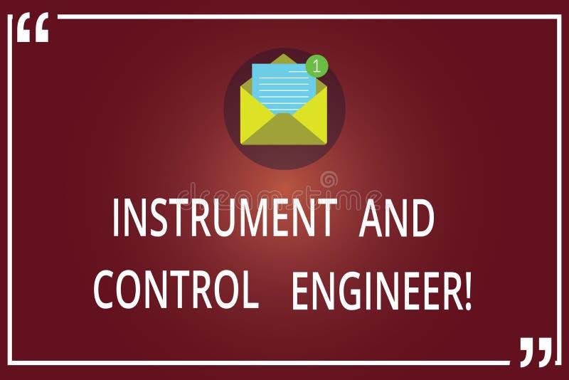 Wort, das Text Instrument und Steueringenieur schreibt Geschäftskonzept für die Automatisierung, die industrielle Ausrüstung offe stockfotos