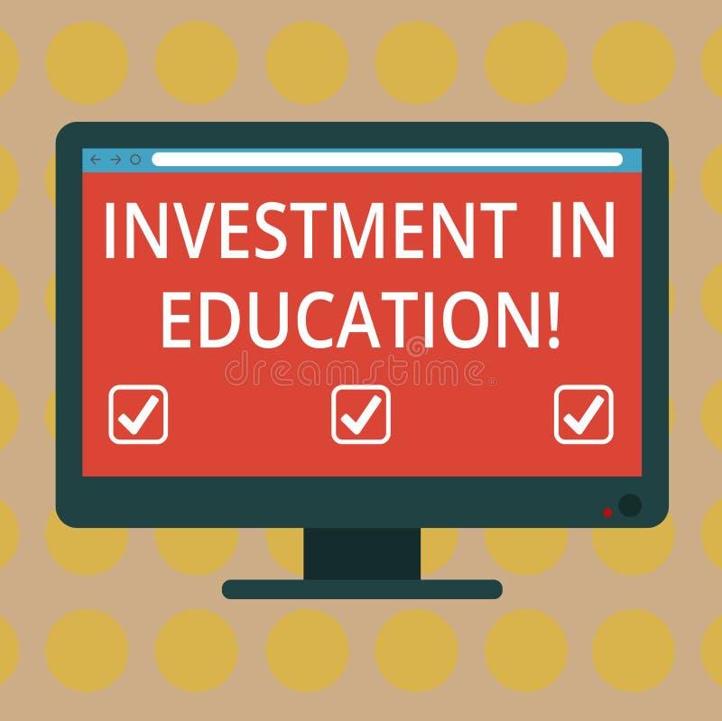 Wort, das Text Investition in Ausbildung schreibt Geschäftskonzept für Attain Wissen, das das Erwerben des freien Raumes erhöht vektor abbildung