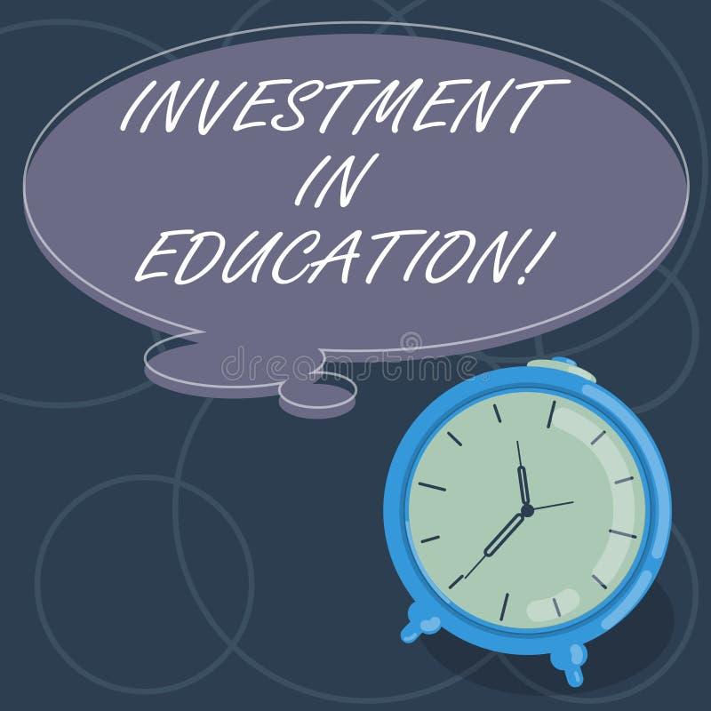 Wort, das Text Investition in Ausbildung schreibt Geschäftskonzept für Attain Wissen, das das Erwerben des leeren Farbgedankens e stock abbildung