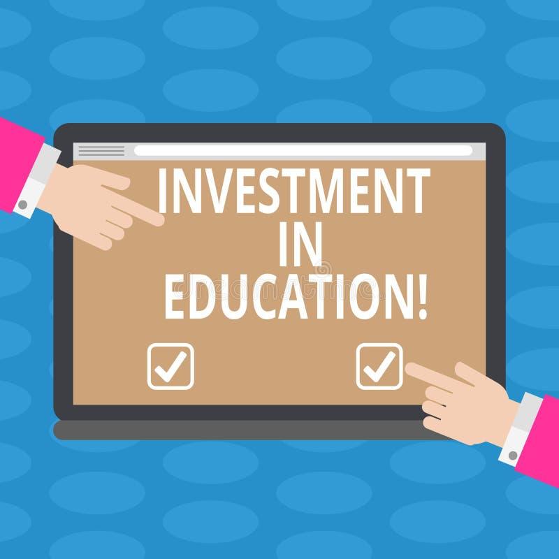 Wort, das Text Investition in Ausbildung schreibt Geschäftskonzept für Attain Wissen, das das Erwerben von HU-Analyse erhöht stock abbildung