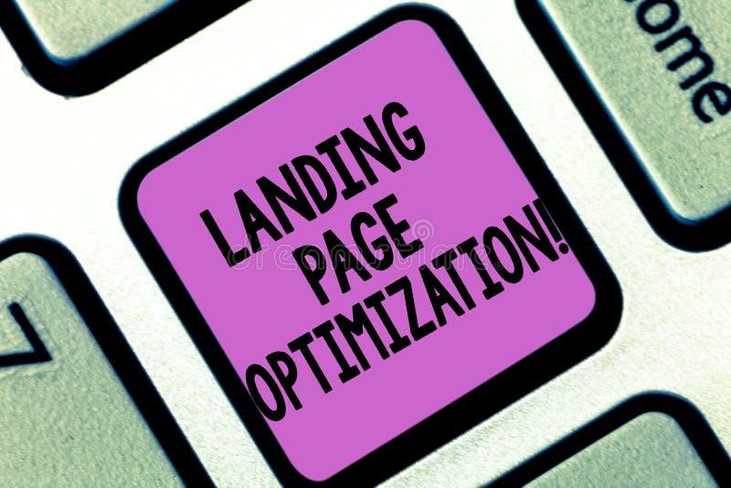 Wort, das Text Landungs-Seiten-Optimierung schreibt Geschäftskonzept für Improve Elemente einer Website, zu steigen Umwandlung lizenzfreies stockbild
