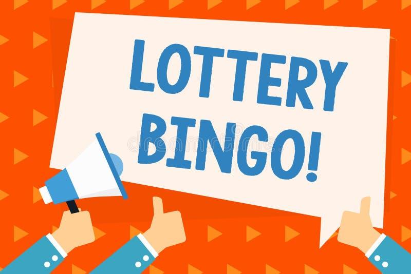 Wort, das Text Lotterie-Bingo schreibt Gesch?ftskonzept f?r Gl?cksspiel, in dem jeder Spieler Zahlen zusammenbringt, druckte Hand vektor abbildung