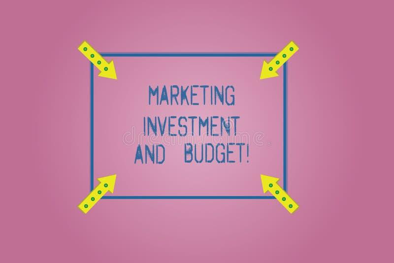 Wort, das Text Marketing-Investition und Budget schreibt Geschäftskonzept für Invest Geld, wenn es Förderungen annonciert, quadri lizenzfreie abbildung