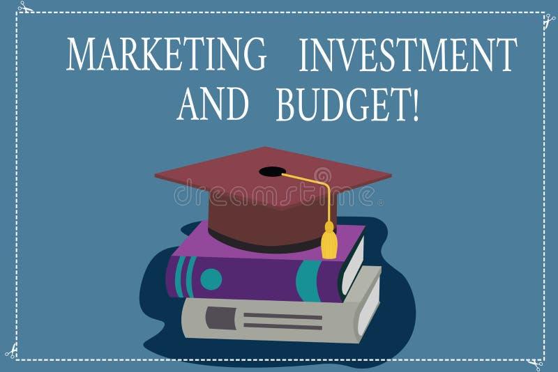 Wort, das Text Marketing-Investition und Budget schreibt Geschäftskonzept für Invest Geld, wenn Förderungen Farbe annonciert wird lizenzfreie abbildung