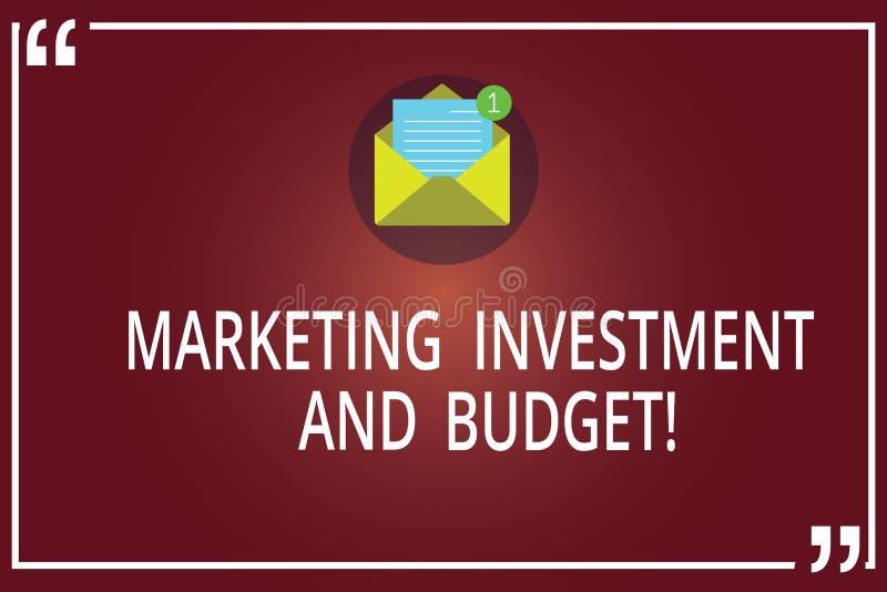 Wort, das Text Marketing-Investition und Budget schreibt Geschäftskonzept für Invest Geld, wenn Förderungen offener Umschlag mit  lizenzfreie abbildung