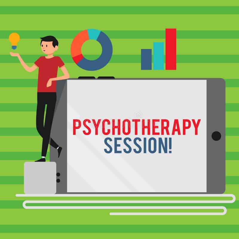 Wort, das Text Psychotherapie-Sitzung schreibt Geschäftskonzept für Behandlungen, die beim Mann der psychischen Probleme helfen lizenzfreie abbildung