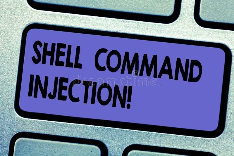 Wort, das Text Shell Comanalysisd Injection schreibt Geschäftskonzept für gepflegt durch Häcker, um System comanalysisds an durch lizenzfreies stockbild