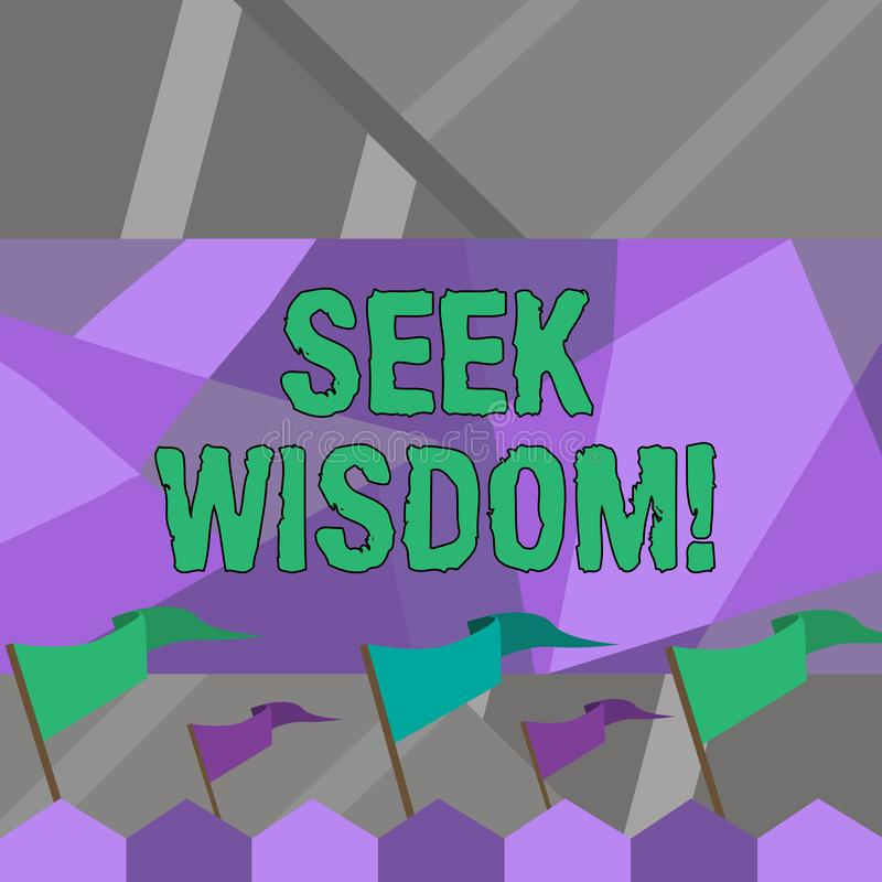 Wort, das Text Suchvorgang-Klugheit schreibt Geschäftskonzept für Denkfähigkeitstat unter Verwendung Wissenserfahrung Verständnis lizenzfreie abbildung