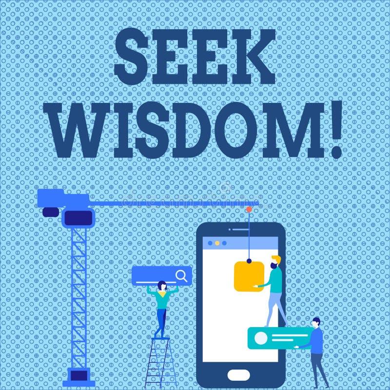 Wort, das Text Suchvorgang-Klugheit schreibt Geschäftskonzept für Denkfähigkeitstat unter Verwendung Wissenserfahrung Verständnis stock abbildung