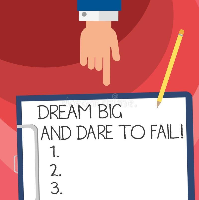Wort, das Text Traum groß und sich trauen auszufallen schreibt Geschäftskonzept für Motivationsinspiration bereiten vor sich, Feh vektor abbildung