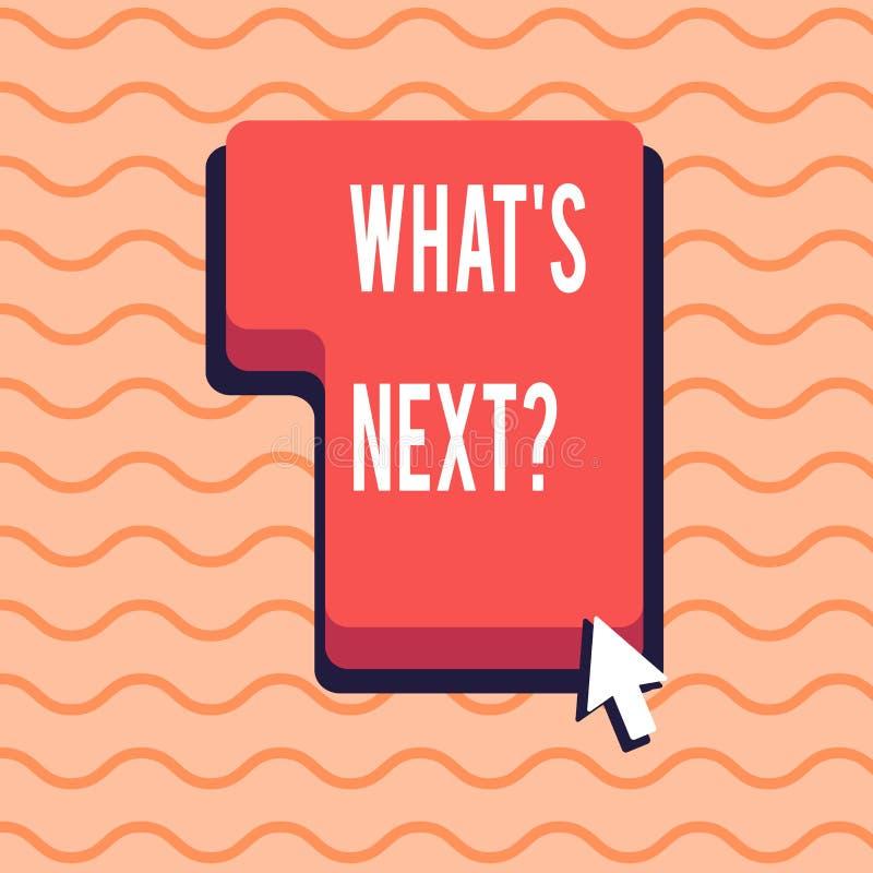 Wort, das Text was S Nextquestion schreibt Geschäftskonzept, damit folgende Schritte Anleitung sich zu bewegen fortfährt oder zu  lizenzfreie abbildung