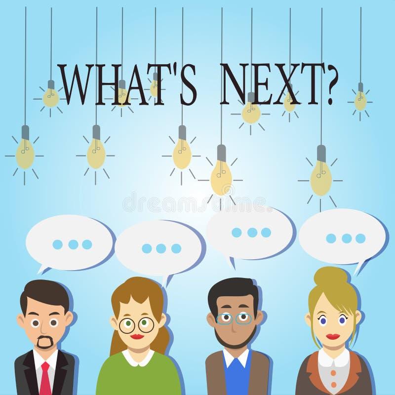 Wort, das Text was S Nextquestion schreibt Geschäftskonzept, damit folgende Schritte Anleitung sich zu bewegen fortfährt oder zu  stock abbildung
