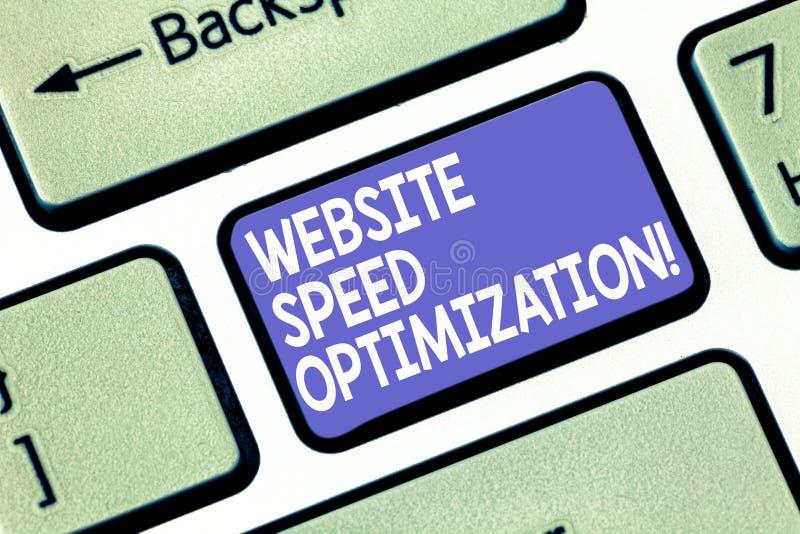 Wort, das Text Website-Geschwindigkeits-Optimierung schreibt Geschäftskonzept, damit Improve Websitegeschwindigkeit Unternehmensz stockfotos