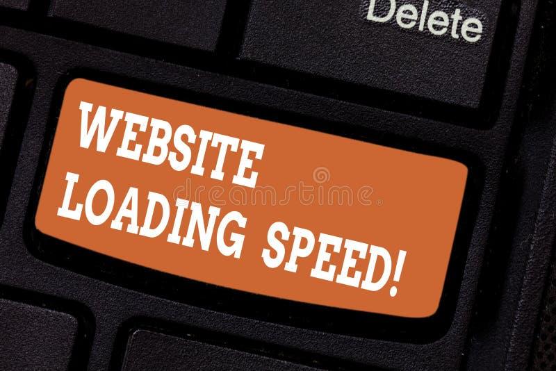 Wort, das Text Website-ladende Geschwindigkeit schreibt Geschäftskonzept für Zeit nimmt, um den gesamten Inhalt einer Webseite an lizenzfreies stockfoto