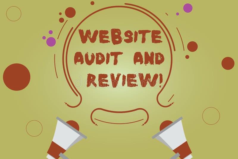 Wort, das Text Website-Rechnungsprüfung und Bericht schreibt Geschäftskonzept für Bewertung von Webseiten Feedback-Revision zwei  vektor abbildung