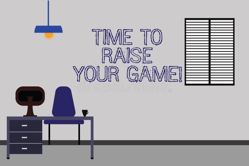 Wort, das Text Zeit schreibt, Ihr Spiel anzuheben Geschäftskonzept für ist die wettbewerbsfähigeren Aktionen, zum des Siegers Wor stock abbildung