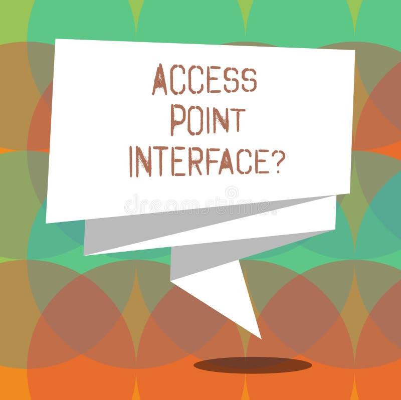 Wort, das Text Zugangspunkt Interfacequestion schreibt Geschäftskonzept, damit Allow drahtloser Apparat an ein Netz gefaltetes 3D lizenzfreie abbildung