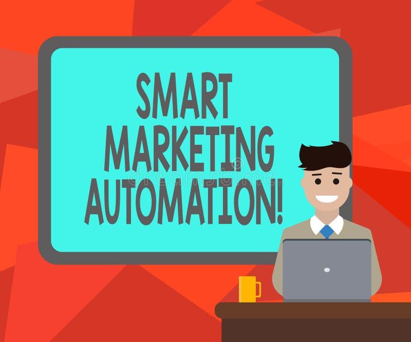 Wort, das vermarktende Automatisierung Text Smarts schreibt Geschäftskonzept für Automate on-line-Werbekampagnen und Verkäufe lös lizenzfreie abbildung