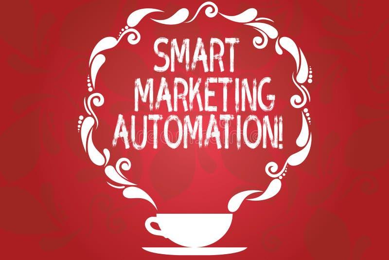 Wort, das vermarktende Automatisierung Text Smarts schreibt Geschäftskonzept für Automate on-line-Werbekampagnen und Verkäufe Sch vektor abbildung