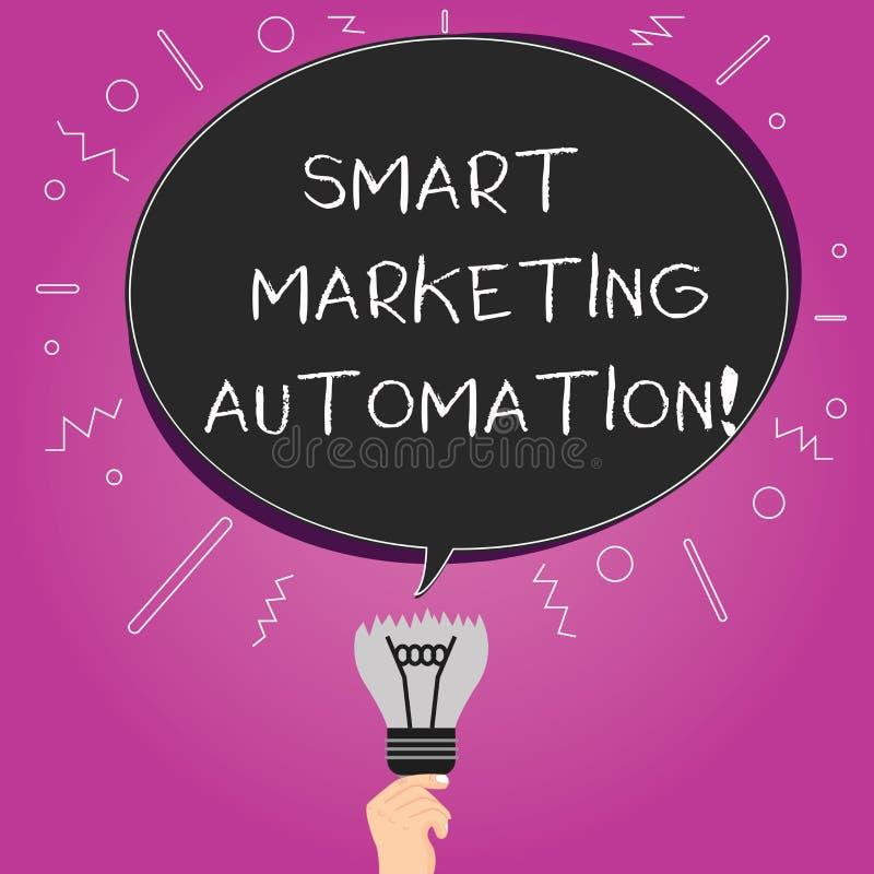Wort, das vermarktende Automatisierung Text Smarts schreibt Geschäftskonzept für Automate on-line-Werbekampagnen und Verkäufe lös vektor abbildung
