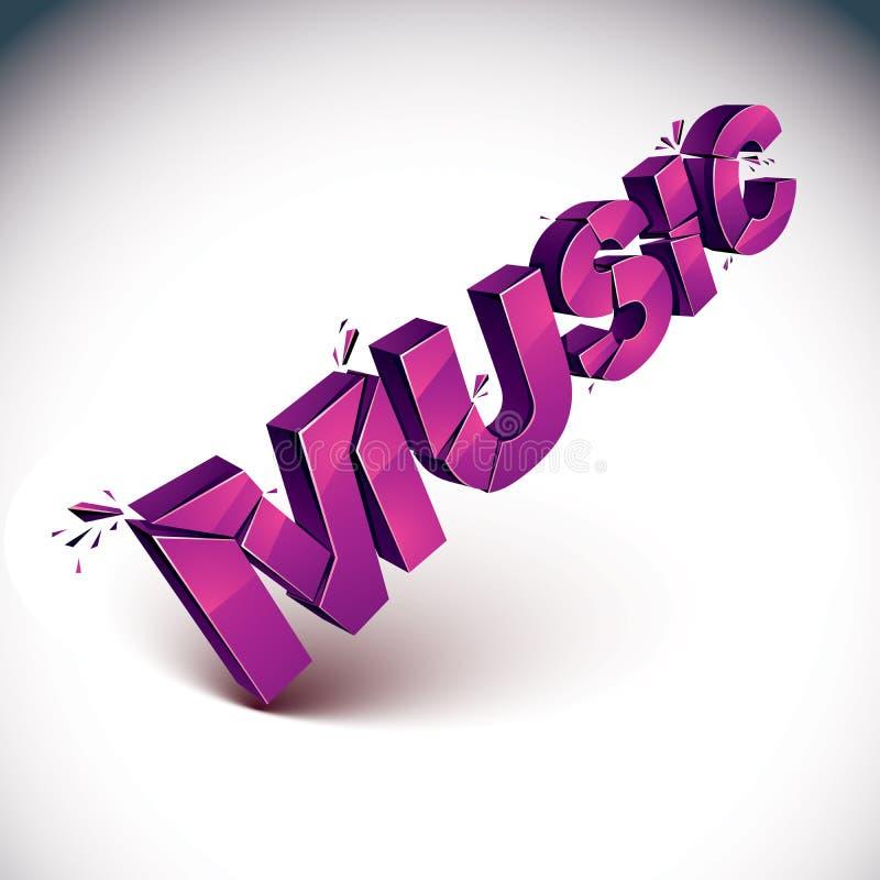 Wort der Musik 3d gebrochen in Stücke, demoliertes Vektordesign eleme lizenzfreie abbildung