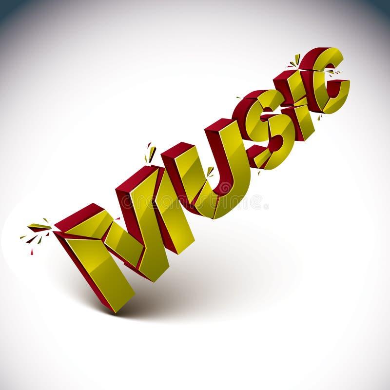 Wort der Musik 3d gebrochen in Stücke, demoliertes Vektordesign eleme vektor abbildung