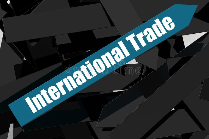 Wort des internationalen Handels auf dem blauen Pfeil stock abbildung