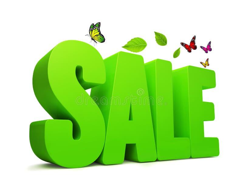 Wort des Verkaufs-Frühlings-Grün-3D lizenzfreie abbildung