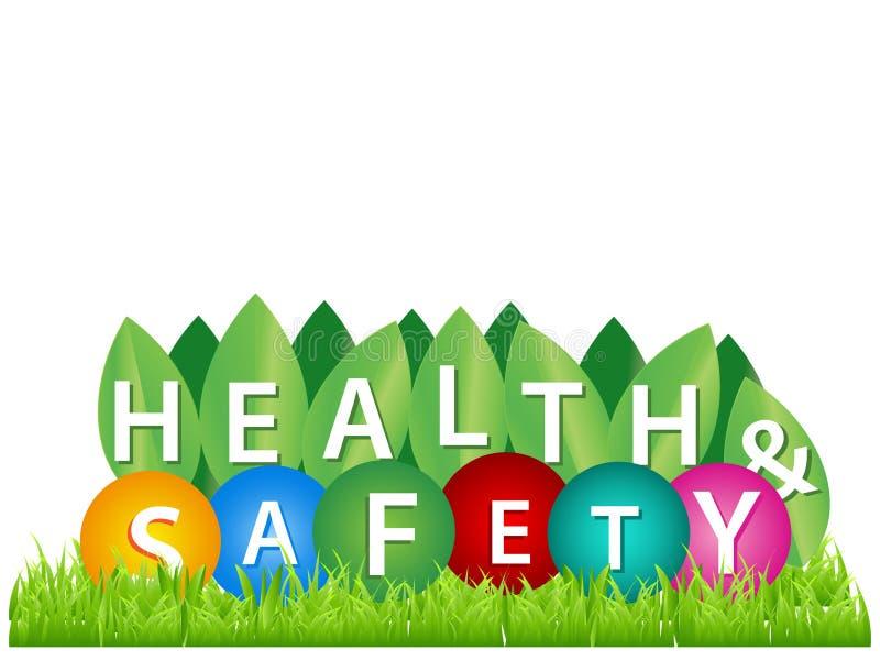 Wort, Gesundheit und Sicherheit schreibend Vektorillustrationskonzept f?r Schutz und Sicherheit vektor abbildung