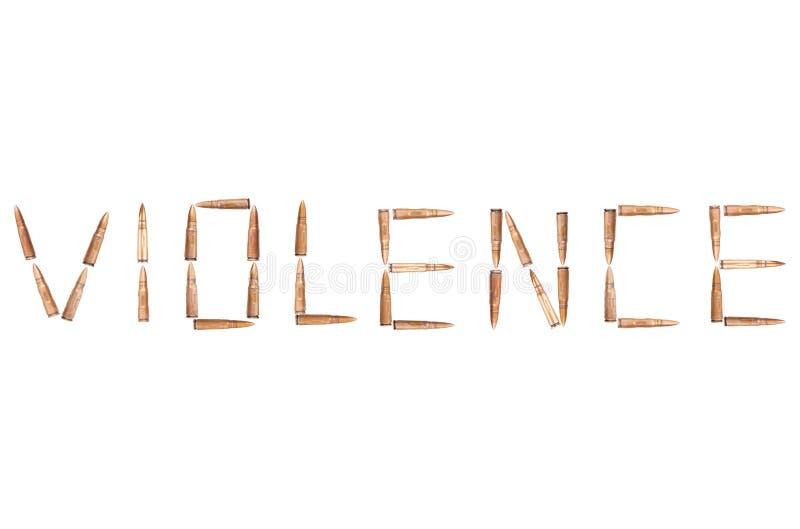 Wort GEWALTTÄTIGKEIT ausgebreitet von den glänzenden Kugeln für Sturmgewehr lizenzfreies stockbild