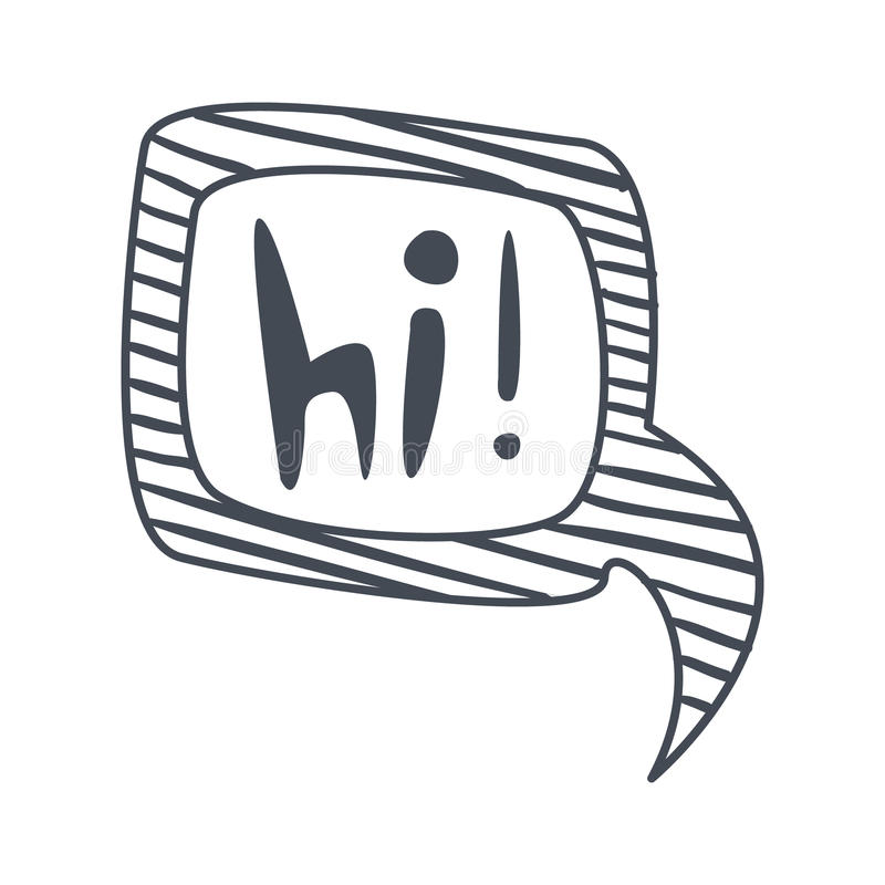 Wort Hallo, Hand Gezeichnete Komische Sprache-Blasen-Schablone ...