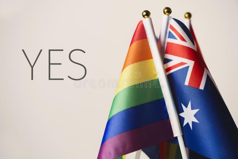 Wort ja und Australier- und Regenbogenflaggen stockfotografie