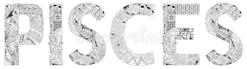 Wort LÖWE Vektor zentangle wenden für Dekoration für die Färbung ein lizenzfreie abbildung